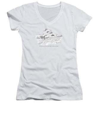 There Are Two Fish Jumping Out Of Water Women's V-Neck