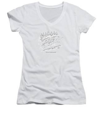 Two Fish Are Talking As They Swim Upstream Women's V-Neck