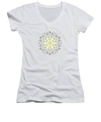 Giant White Dahlia I Flower Mandala White Women's V-Neck