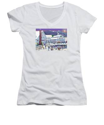 Wintertime At Waterville Valley New Hampshire Women's V-Neck