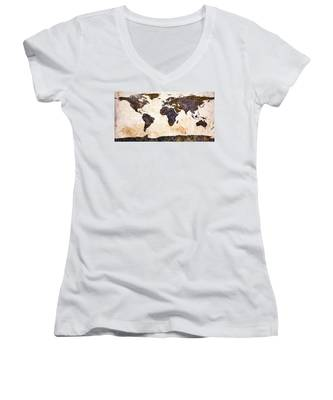 World Map Abstract Women's V-Neck