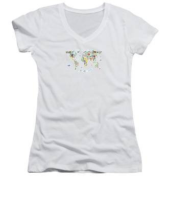 Animal Map Of The World For Children And Kids Women's V-Neck