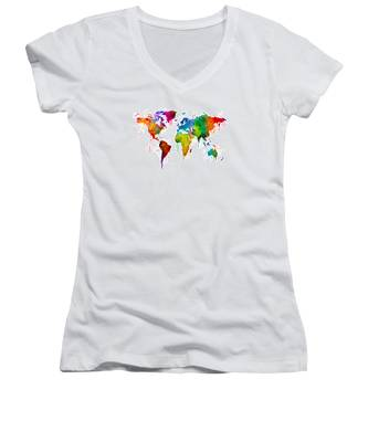 Watercolor Map Of The World Map Women's V-Neck