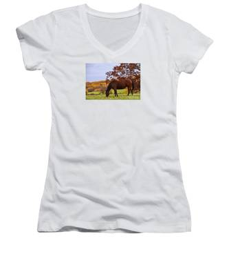Fall And A Horse Women's V-Neck