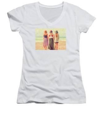 Girlfriends At The Beach Women's V-Neck