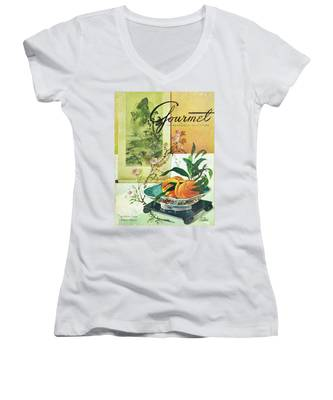 Gourmet Cover Featuring A Bowl Of Peaches Women's V-Neck
