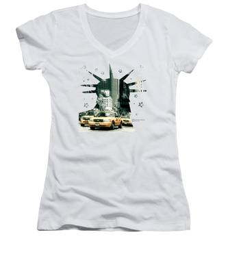 Lady Liberty And The Yellow Cabs Women's V-Neck