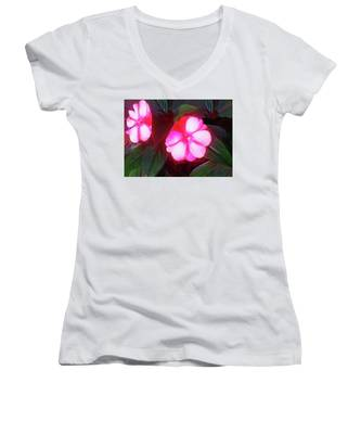 Pink Red Glow Women's V-Neck