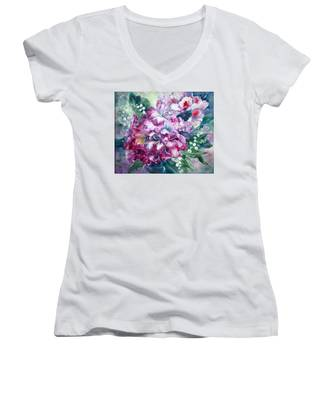 Rhododendron And Lily Of The Valley Women's V-Neck