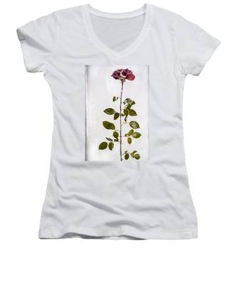 Rose Frozen Inside Ice Women's V-Neck