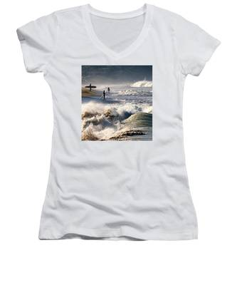 Waiting By Mike-hope Women's V-Neck