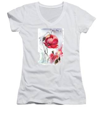 When The Mists Fall Down Women's V-Neck