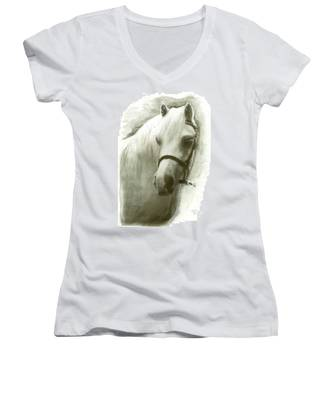White Welsh Pony Women's V-Neck