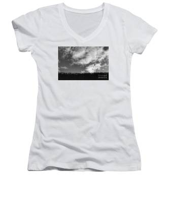 Winter Clouds Over The Delaware River Women's V-Neck