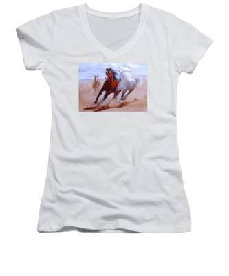 Adventurous Horses Women's V-Neck