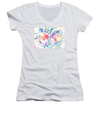 Pink Flowers Women's V-Neck