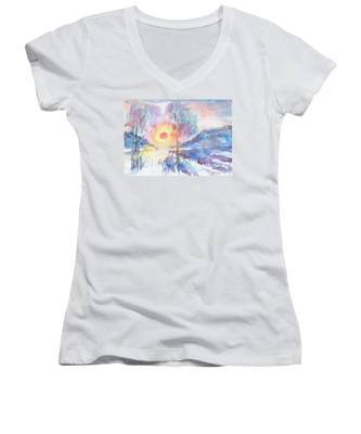 Sunny Winter Morning Women's V-Neck