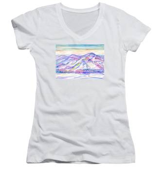 Winter Mountain Landscape Women's V-Neck