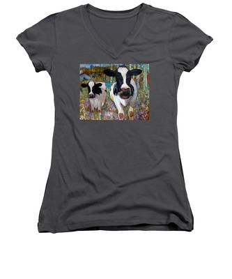 Up Front Cows Women's V-Neck