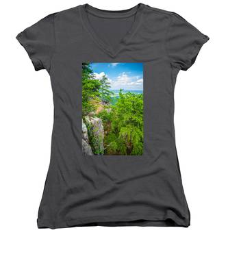 Beautiful Aerial Landscape Views From Crowders Mountain North Ca Women's V-Neck