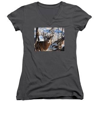 A Buck In The Bush Women's V-Neck