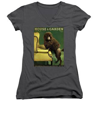 A House And Garden Cover Of A Poodle Women's V-Neck
