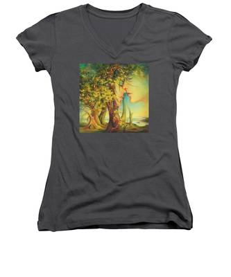 An Encounter At The Edge Of The Forest Women's V-Neck