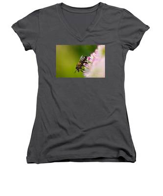 Bee Sitting On A Flower Women's V-Neck