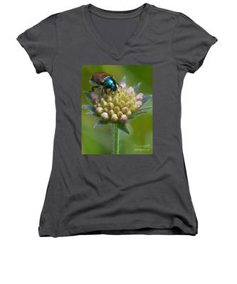 Beetle Sitting On Flower Women's V-Neck