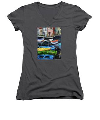 Boats In Front Of The Buildings II Women's V-Neck