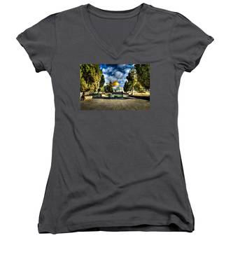 Dome Of The Rock Hdr Women's V-Neck