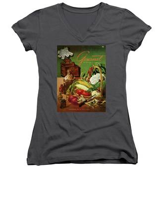 Gourmet Cover Featuring A Variety Of Vegetables Women's V-Neck