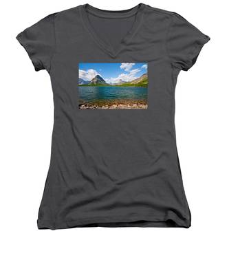 Grinnell Point From Swiftcurrent Lake Women's V-Neck
