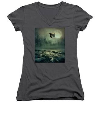 Heron By Moonlight Women's V-Neck