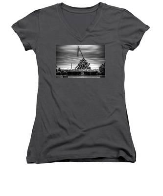 Iwo Jima Monument Black And White Women's V-Neck