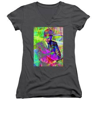 John Fitzgerald Kennedy Jfk In Abstract 20130610v2 Women's V-Neck