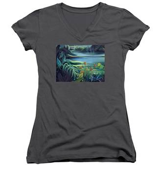 Mural Bird Of Summers To Come Women's V-Neck