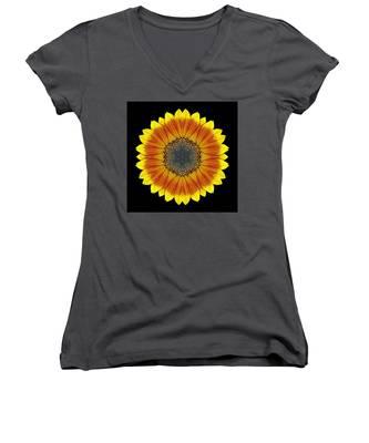 Orange And Yellow Sunflower Flower Mandala Women's V-Neck