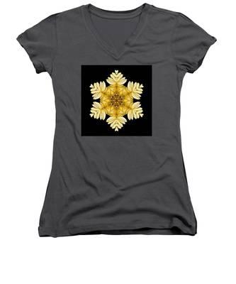 Pale Yellow Gerbera Daisy Vii Flower Mandalaflower Mandala Women's V-Neck
