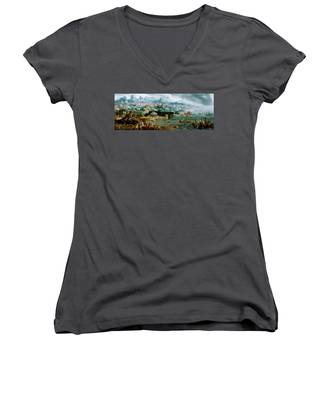 Panorama With The Abduction Of Helen Amidst The Wonders Of The Ancient World Women's V-Neck