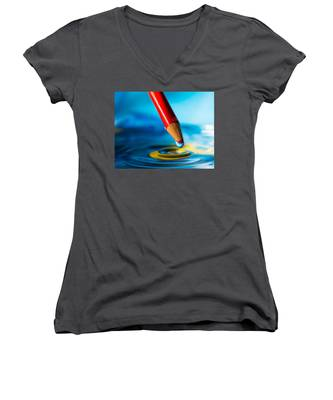 Pencil Water Drop Women's V-Neck