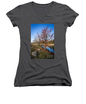 River And Winter Trees Women's V-Neck