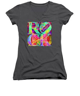 Rock And Roll 20130708 Fractal Women's V-Neck