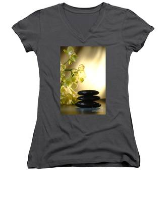 Stone Cairn And Orchids Women's V-Neck