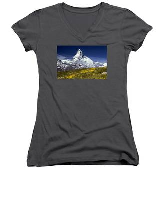The Matterhorn With Alpine Meadow In Foreground Women's V-Neck