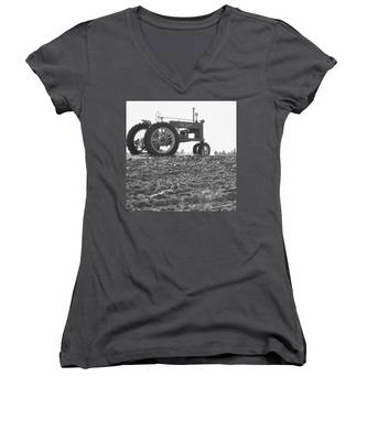 Old Tractor II In Black-and-white Women's V-Neck