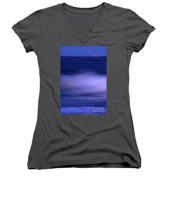 The Red Moon And The Sea Women's V-Neck