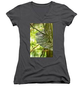 cypress forest and swamp of Congaree National Park in South Caro Women's V-Neck