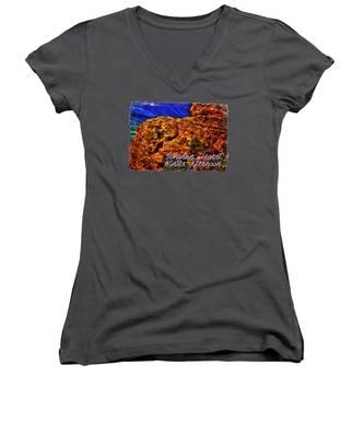 Striations Women's V-Neck T-Shirts