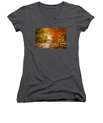 Autumn Path Women's V-Neck